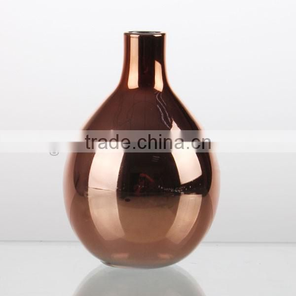 hand made cheap cute mini green and rose gold color galss vase pastorable