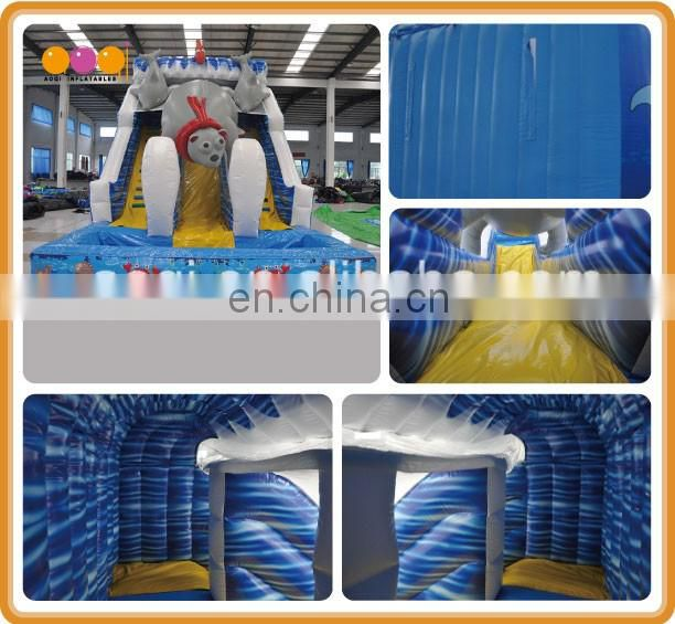 2017 AOQI newest ocean bear wet inflatable slide beach inflatable water slide for sale