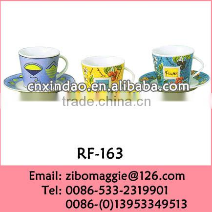 Flower Designed Ceramic Promotion Plain White Wholesale Tea Cup Saucer for Sublimation