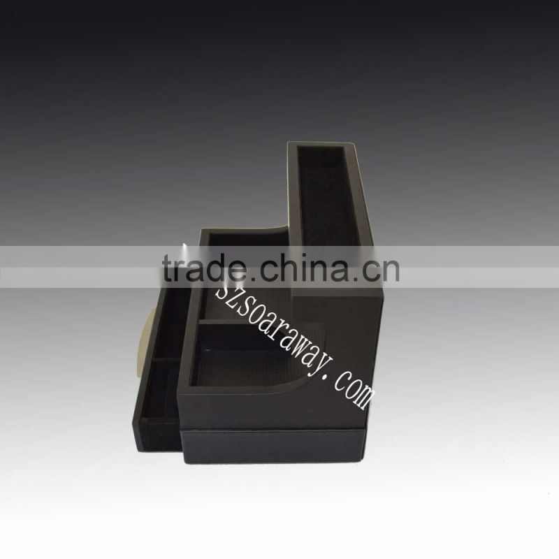 hotel use rubber paint black lacquered watch box ,Faux Leather desk organiser for stationery holder factory