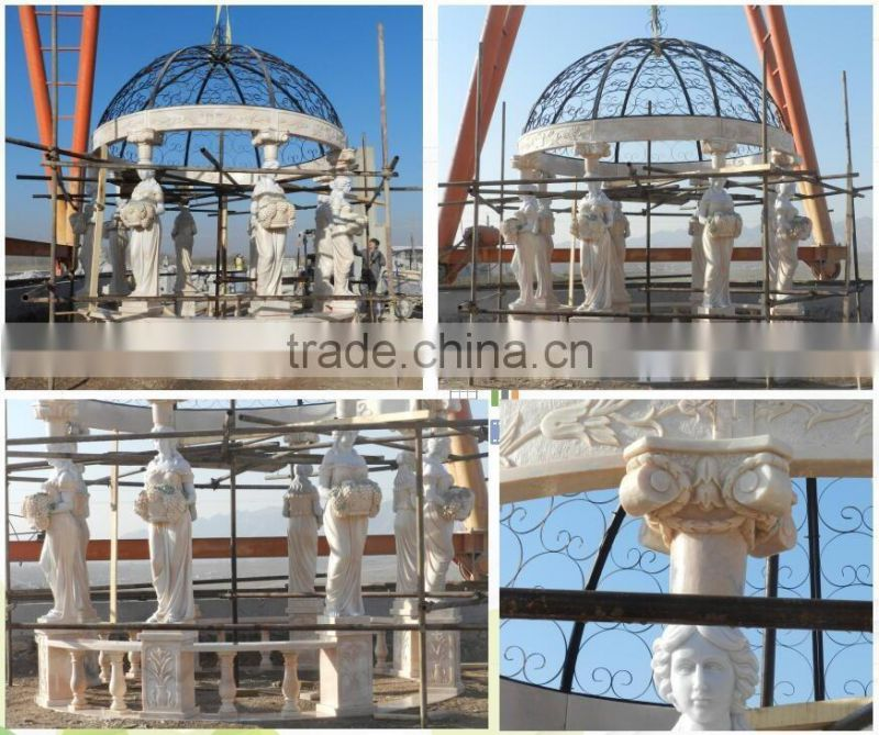 outdoor lady statue white marble garden pavilion for sale NTMG-254S