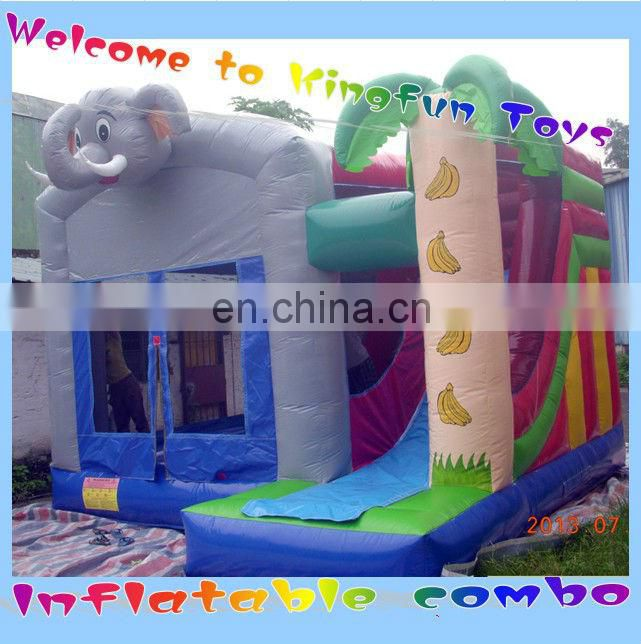 Elephant&palm tree bouncy house and slide