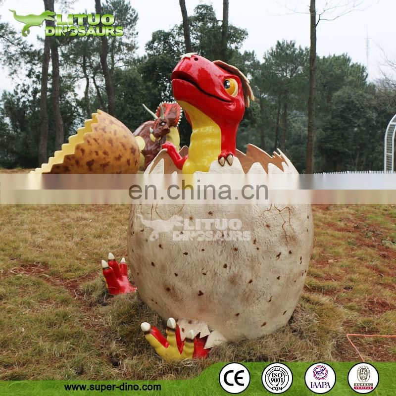 Amusement Park Kids Equipment Fiberglass Dinosaur Statue