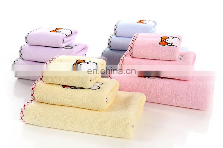 Wholesale soft and thicken towels microfiber towel set with two pieces of face towels 506g