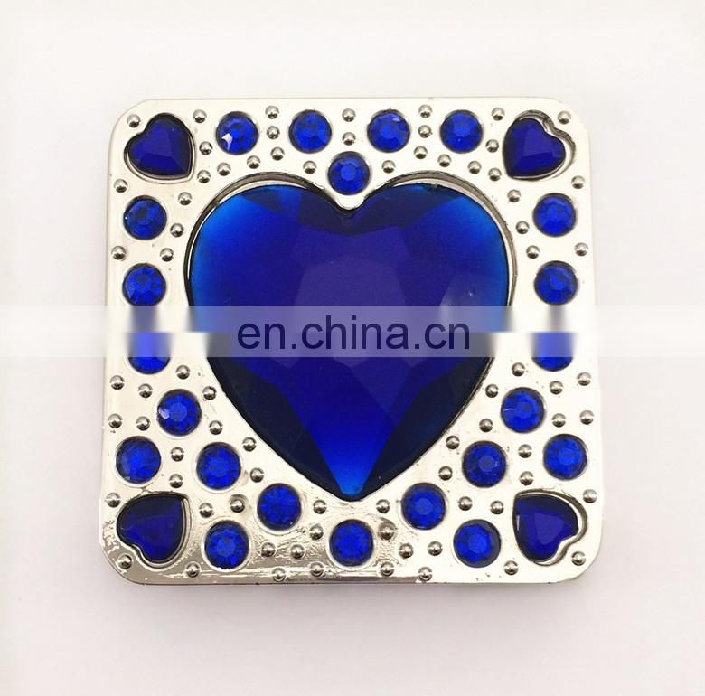 Wholesale square foldable purse hanger with heart shape crystal