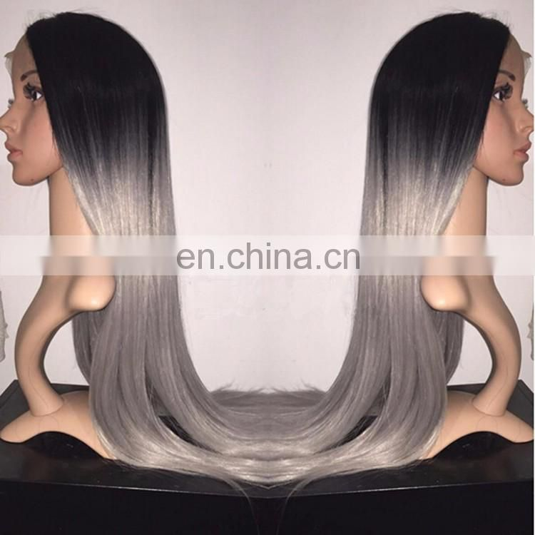 Natural Color And Grey Ombre Human Hair Lace Front Wig Virgin Grey Peruvian Hair Lace Wig With Baby Hair For Black Women