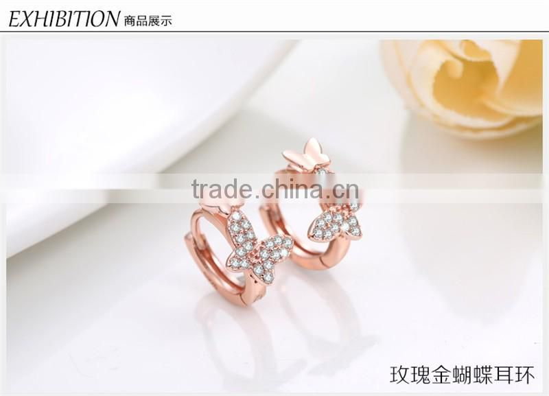 Rose Gold Pave Diamond Ear Cuff butterfly shaped Jewelry wholesale 925 silver earring
