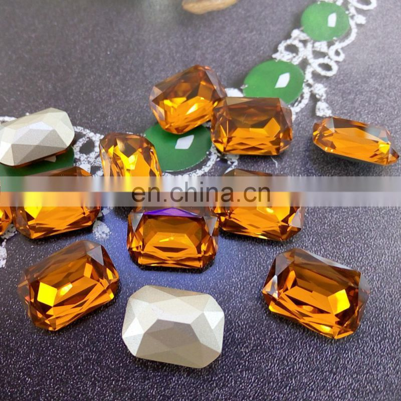 Loose fancy octagonal crystal point back glass stones for jewelry element