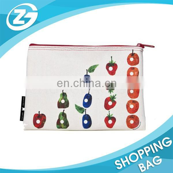 Supply Cheap Logo Printed Plain Small Cotton Canvas Zipper Pouch Makeup Bag