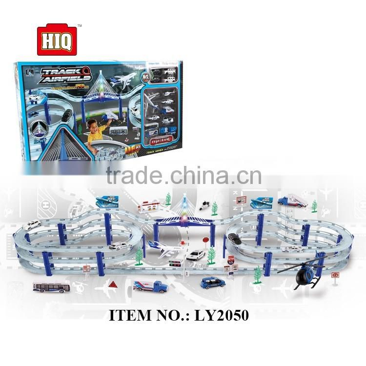 Batteries operated engineering theme high quality metal city tracks toy set
