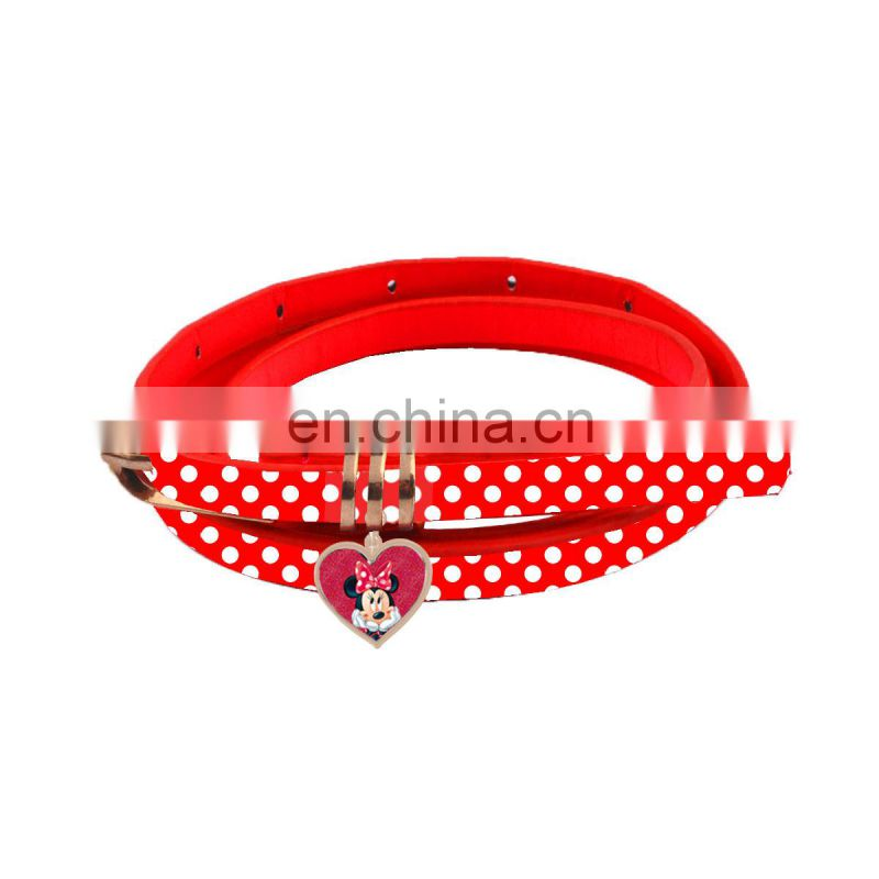 PU leather Belt with Minnie Mouse Buckle