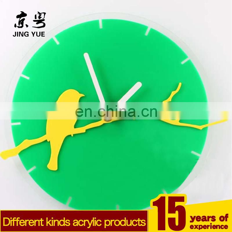 New design green leaf shape laser cutting acrylic wall clock plexiglass clock clear acrylic wall clock