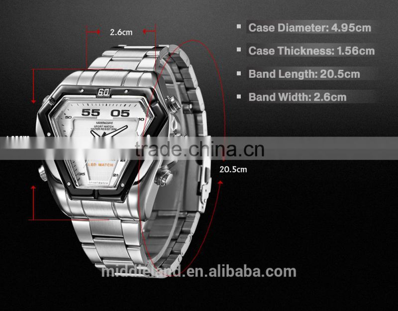 2015 Mddleland -8016 Multifunctional Dual Time 3ATM Water Resistant Digital Analog Men Sport Watch