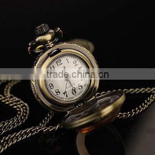 WP034 New Ladies Stainless Steel Case White Dial Amber Front Antique Necklace Pendant Pocket Watch