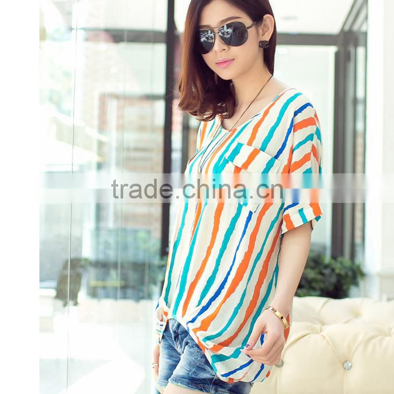 Womens Striped Batwing Casual Tops Plus Size Chiffon Blouse Shirt desigen for women