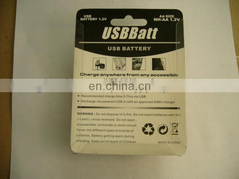 HOT rechargeable AA USB Batt Battery bettery with 1450mAh 1.2V bettery cell with storage bettery