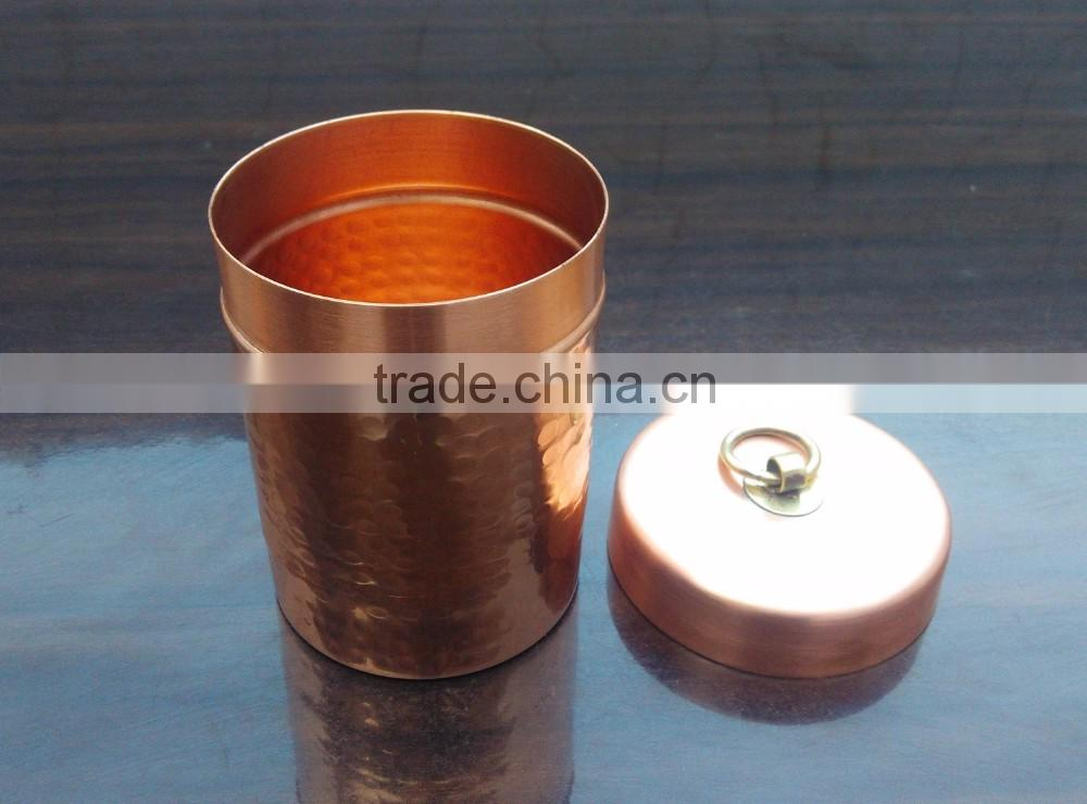 Hammered Copper Soy Candle Jar or Container With Brass Lid, Copper Soy Candle Jar With Brass Lid