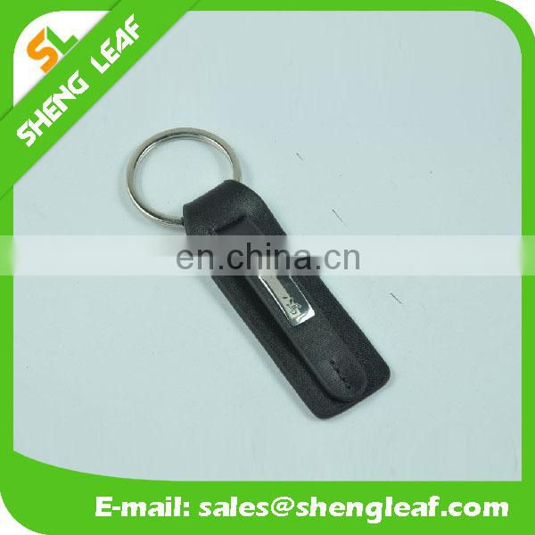 Leather car custom keychian with metal keyrings