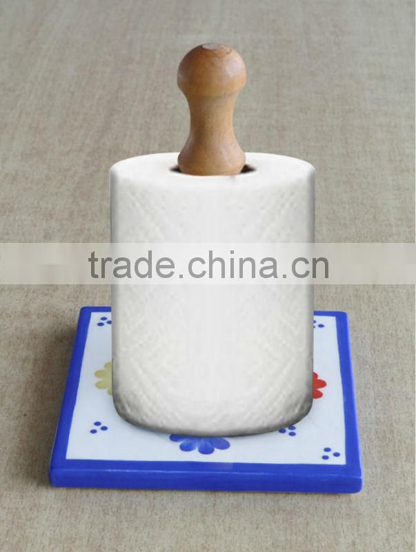Ceramic paper holder, wooden paper towel holder with ceramic base
