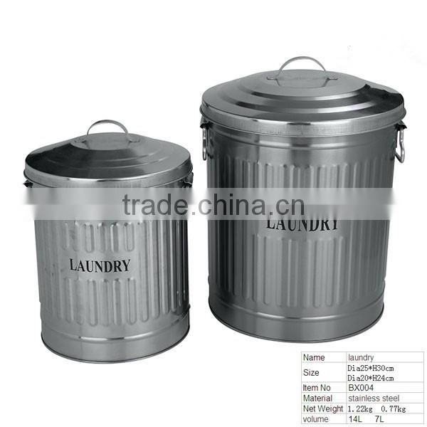 BX004 Home ware Stainless Steel Laundry/Trash Bin With Ladle and Lid