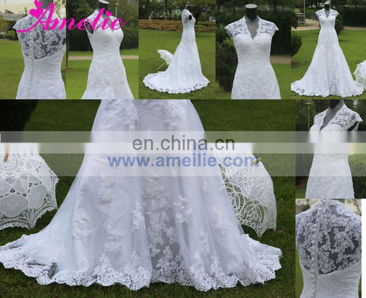 Real High Quality Made Designer Lace Wedding Dress