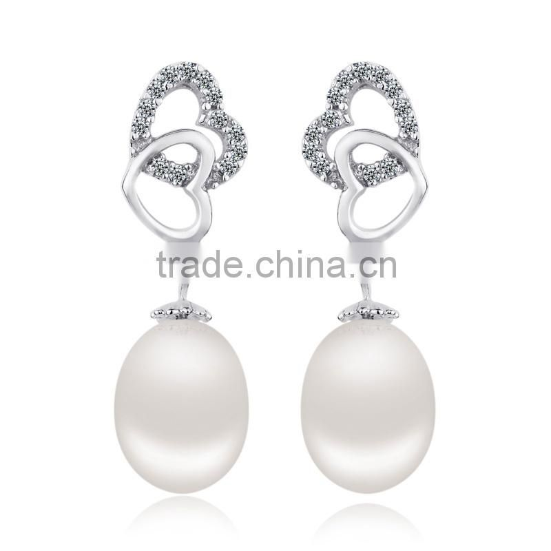 CYW popular pearl earrings, new design heart shape 925 sterling silver jewelry wholesale artificial jewellery