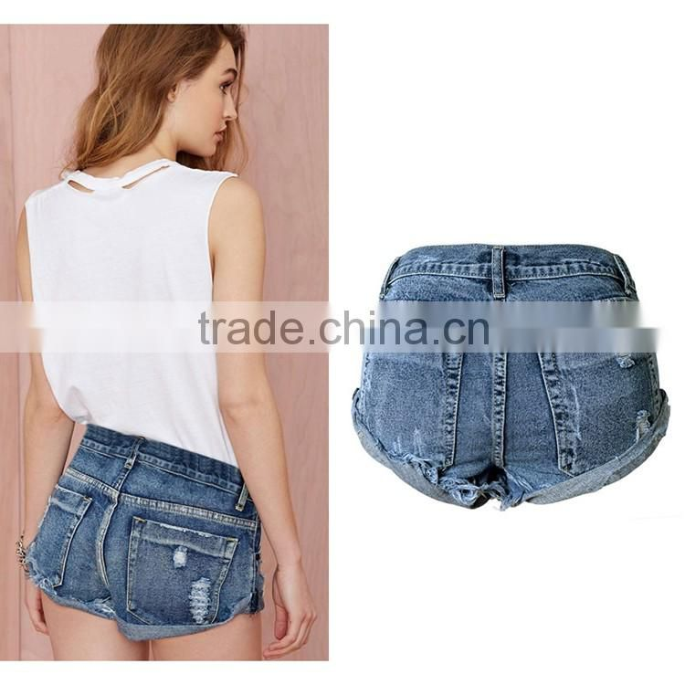 Wholesale 2016 Summer Fashion Women Ripped Beach Shorts Jeans Bottom Hem Roll Up Torn Destroyed Latest Ladies Hot Pants