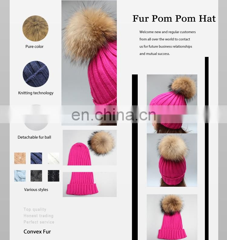 Hot pink knitting hats ribbed pattern girl lady hats raccoon fur pom pom hats
