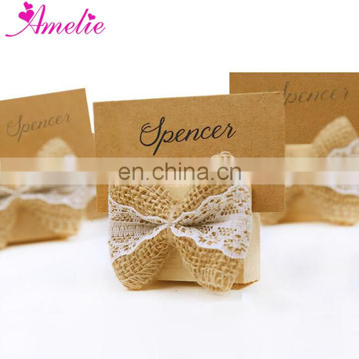Wedding Souvenirs Retro Burlap Lace Bow Place Card Holder Wooden Place Card Holders Parties Rustic Shabby Chic Cottage
