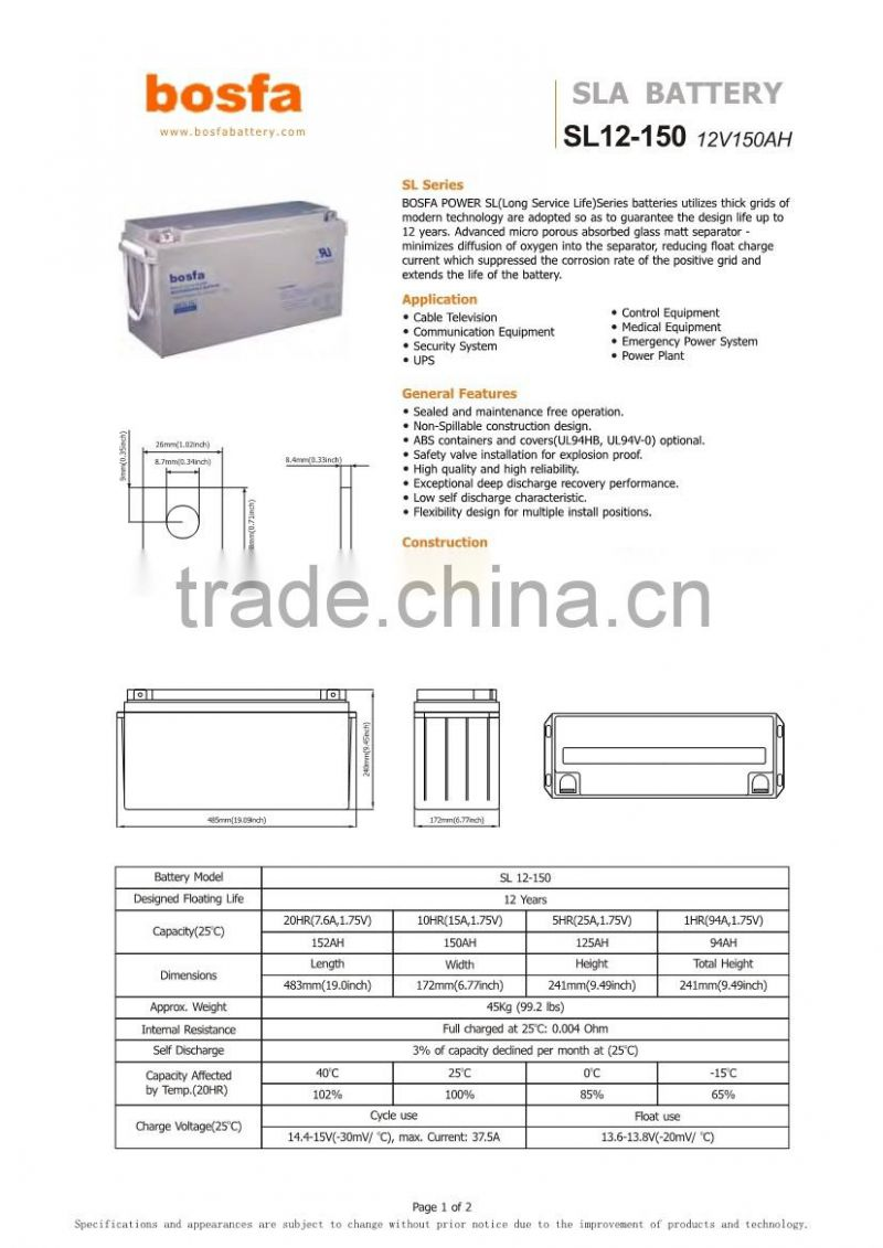 wholesale 12v battery long life 12v150ah lead acid battery