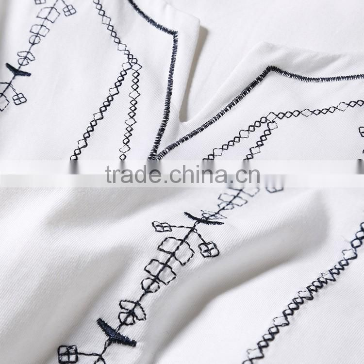 Alibaba 2016 Summer Fashion Woman Embroidery Design Croped Tops Elegant Slim V Neck Short Sleeve White T-Shirt Women
