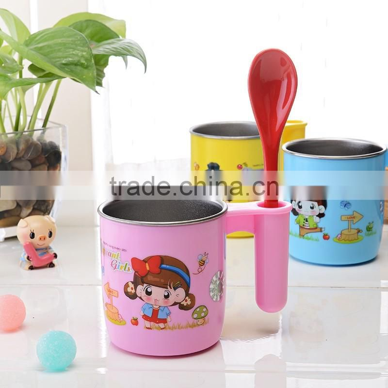 lovely stainless steel double wall vacuum mug for kids
