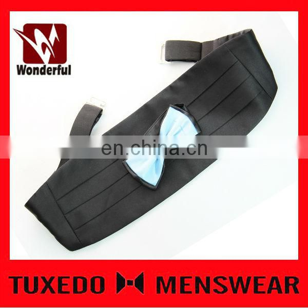 polyester black satin cummerbund and bow tie set