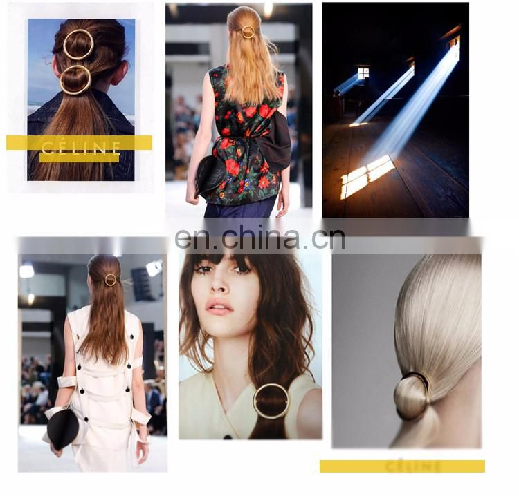 2017 y i Wu Chinese supplier latest round metal fashion hair pin accessories for girls