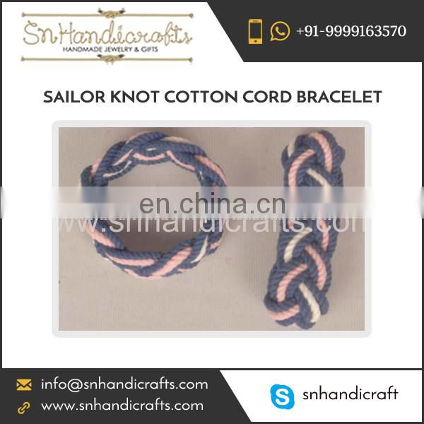 Pastel Colored Fancy Sailor Knot Cotton Rope Bracelet