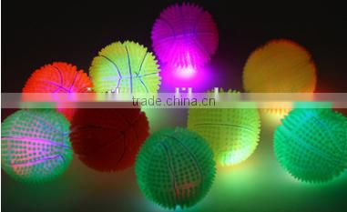 2016 best selling; Manufacture wholesales;Flashing spiky balls; flashing and stress reliever ball;small;spiky sound music
