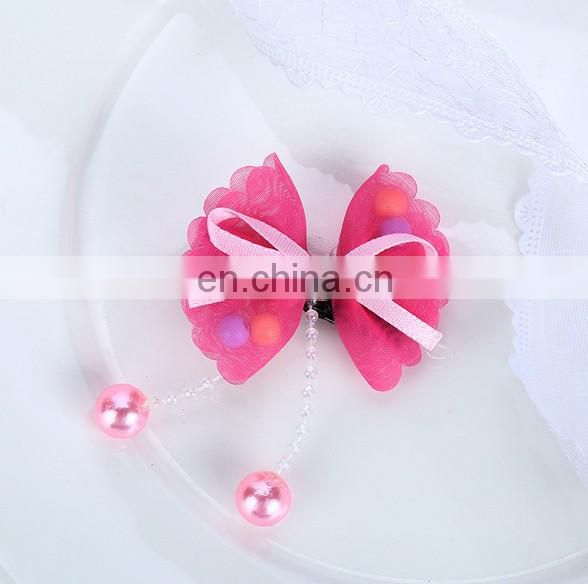 Dainty Bow Hair Clips With Pink Pearl Tulle Hair Clip For Baby Girl Birthday Favors