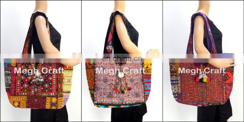 Banjara Coin Mirror Work Big Jhola Bag -Vintage India Handicraft banjara tote handbag- Indian Handmade Banjara Cotton Boho bag