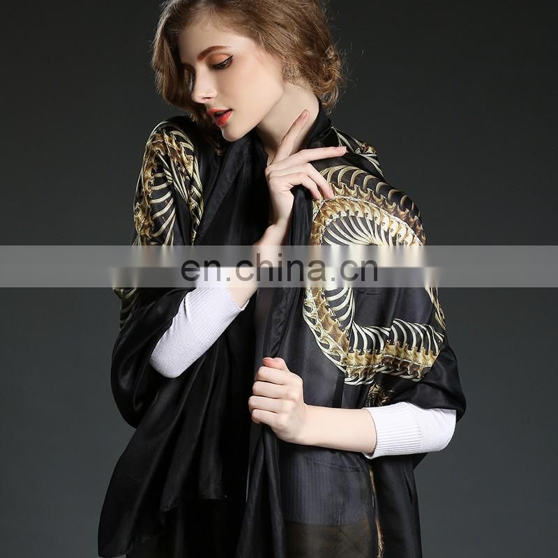 100%Silk scraves women's elegant long scarf black