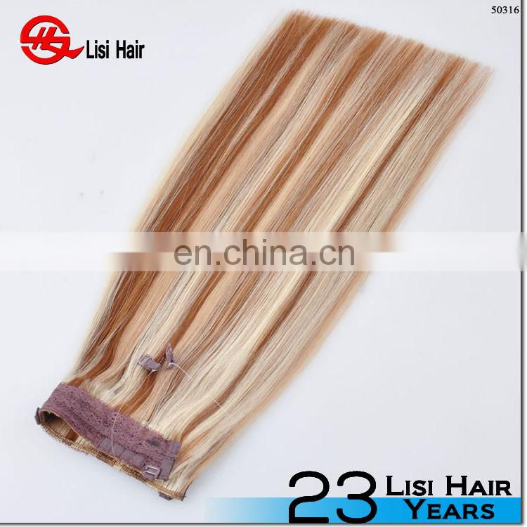Top selling unprocessed halo hair natural 613 blonde russian hair extension virgin straight hair