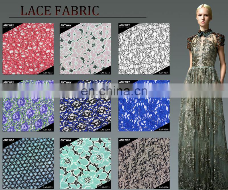 Korean Sapphire Blue Flower Lace Fabric by the Yard for Wedding Dress Shirt Skirt DIY