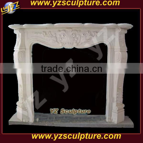 hand carving white marble fireplaces surround for indoor decoration