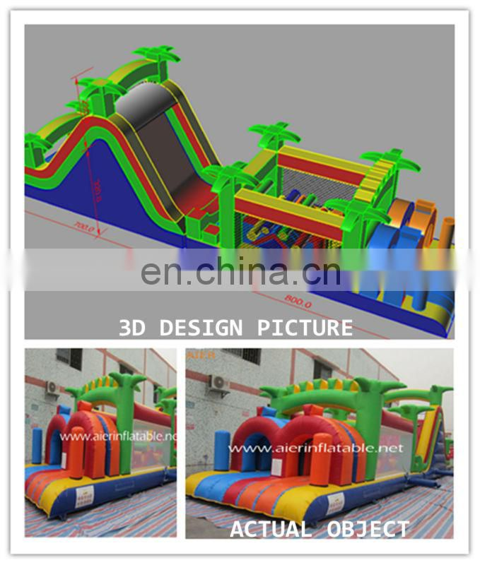 factory price double tunnels inflatable obstacle course for sale, giant inflatable obstacle