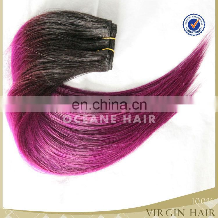 New arrival virgin brazilian silk straight two tone ombre hair weaves