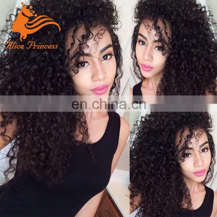 Best Seller 8A Grade Natural Hairline Free Part Black Color Lace Wig Virgin Human Hair Curly Silk Top Full Lace Wig