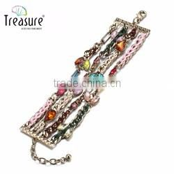 Fashion jewelry vintage ethnic colorful tassel bead rope woven bracelet Valentine's Day bracelet
