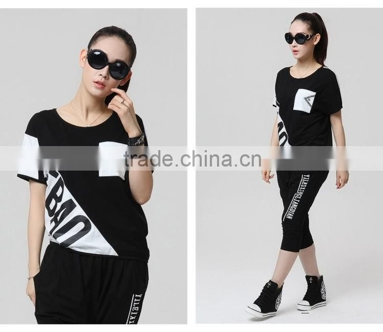 2016 Summer Fashion Women Korean Style Crop Tops Ladies Raglan Short Sleeve Pocket Black White T Shirt Wholesale