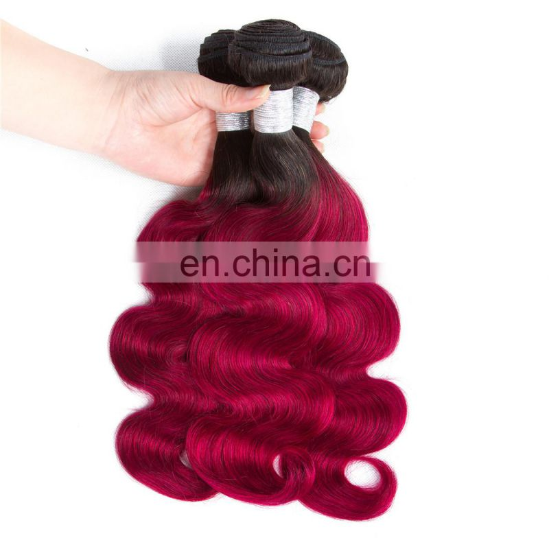 dark roots human hair ombre weave bundles two tone 1b/bug Brazilian virgin hair for fashion beauty young girls