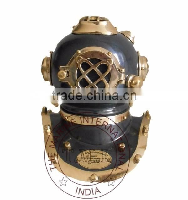 "8"" ANTIQUE U.S. NAVY DIVING HELMET MARK V - SMALL DIVING HELMET - NAUTICAL ANTIQUE DIVER'S HELMET"