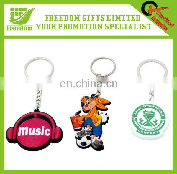 Advertising Customized PVC Rubber Key Rings for Promotion